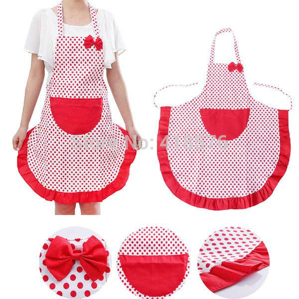Wholesale New Brand Cute Lovely Dot Kitchen Aprons With Pocket For Women Girls Cooking Bib Apron Housework Tq Kt090 White Aprons Mens Apron From Bdhome