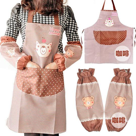 Wholesale Mic New Arrival Fashion Kitchen Apron Set Bibs Work Wear Over Sleeves Cooking Apron Household Cute Bear Design Brand Pink Apron Denim Aprons From