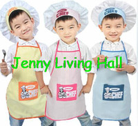 Wholesale Retail Polyester Kids Chef Apron Children Costume Sets Painting Apron Chef Hat and Apron