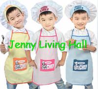 cotton apron - Retail Polyester Kids Chef Apron Children Costume Sets Painting Apron Chef Hat and Apron
