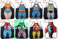 Wholesale Sexy Super Man Cosplay - Wholesale-Free shipping Wholesale Sexy Novelty Cooking Aprons Super hero Character Costume Cosplay Kitchen apron kid men women gift