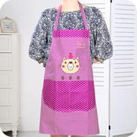 Wholesale Bear aprons Polka Dot Korean fashion cute cartoon waterproof apron kitchen aprons housework anti fouling aprons