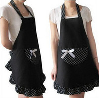 Wholesale Lady Lovely Princess Style Cotton Apron with dots and big pocket for Cooking Kitchen