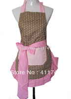 Wholesale Women Household Cleaning Kitchen Fashion Polka Dot Cotton Ruffled Coffee Shop Working Wear Apron