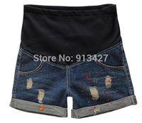 Cheap Wholesale-Sale!!!2015 summer pants for pregnant women ripped denim shorts elastic waist cotton belly trousers pregnant women painted jeans