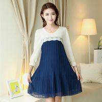korean maternity dress - Dress for pregnant Chiffon dress for pregnant Summer Korean embroidery stitching maternity dresses