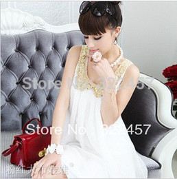Wholesale-Sale! Elegant White Beige Small Cute Gold Neck Sleeveless Chiffon One-piece Dress Pregnant Mummy Summer Dress Maternity Dress