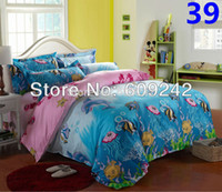 Wholesale blue ocean fishes king queen full twin size bedding sets bedclothes duvet covers set bed sheet bed linen