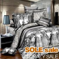 Wholesale Cool D Wolf Print Bedding Sets Queen King Size Wolf Comforter Set Duvet Cover Sets Pieces D Bedding