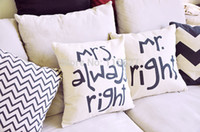 bamboo houses designs - pc Cushion cover Cotton Linen Material Pillow Cover quot MR RIGHT MRS ALWAYS RIGHT design House decoration