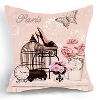 bamboo high heels - Retro Vintage Pink Bird Cage Flower High Heel Shoe Home Decorative Cotton Linen Pillow Case Cushion Cover CM