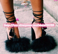 Women Hot Sexy Party Shoe Black Fur Lace Up High Heel Sandals Women