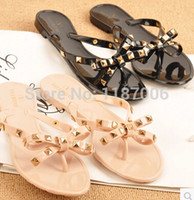 Wholesale NEW Black Nude Valentine Brand Designer Flip Flops Women Flat Female Slippers Summer Shoes With Rivets Studded Bow Bowtie