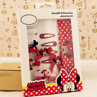 artificial mouse - Baby Children Girl Minnie Mouse Styling Tools Headband Hair Clips Hairpin Set Kids Bow Clips Set For Christmas Gift C15