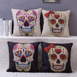 Wholesale Rushed New Novelty Ikea Style Colorful Mexican Sugar Skull Cover Case Cotton Linen Cushions Home Decor for Car Seat