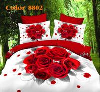 Cheap Wholesale-3D Cotton Bedding sets Bed set Bed clothes Linen 4 pcs (duvet cover+flat sheet+2pillowcase) Queen size Bed Cover Bed clothes