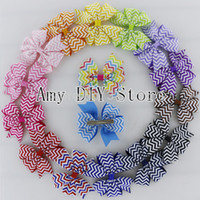 Wholesale Baby Girls Boutique Hair Accessories Chevron Printed Grosgrain Ribbon Pinwheel Bows WITH