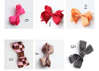 Wholesale girls kids lovely ribbon plaid fabric bow hair pin hair clip children hair accessories