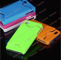 Plastic For Apple iPhone iPhone 4 Credit card hard Case skin back plastic cases + dust Cover For iphone HD OS 4G 4 4s 4GS 100 200pcs
