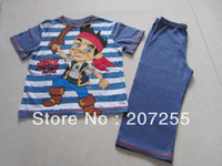 Wholesale Rerail piece boy Jake and the Neverland Pirates short sleeves long pants pajamas suits pyjamas nightwear