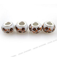 Flowers ceramic beads flower - Ceramic Painting Flower Charms Bead Copper Spacer Bead Fit European Bracelet DIY mm