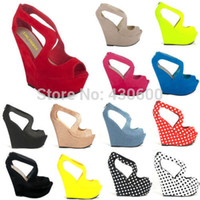 Cheap Wholesale-New Ladies Womens Red Sexy Sandals High Wedges Heels Shoes Platform Strappy Fall Winter Wedding Shoes