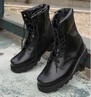 steel toe cap - Steel toe cap black winter military boots high men platform rubber motorcycle chaussure bota autumn military combat army
