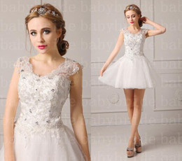 Wholesale Cheap In Stock Wedding Dresses Sheer Scoop Sleeveless Lace up Short Bridal Gowns With Bead And Applique Bride Dress BBD6357