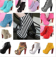 Wholesale hot sale womens Ladies solid Lita platform thick high heels Lace Up Ankle boots and women vintage autumn winter shoes