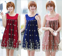 Wholesale Color Fashion Loose Lace Beading Chiffon Sleeveless Maternity Dress Pregnant Women O neck Vest Tank Dresses Skirt Clothes M L