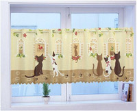 Wholesale High Quality cat print coffee curtain kitchen curtains for windows door curtain semi shade brief cloth short curtain145 cm