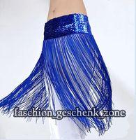 Wholesale tribal fringe Elasticity belly dance costume hip belt scarf blue