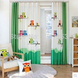 wholesale pastoral cartoon owl kids room curtain window curtain for living room baby curtains home decoration cortina door curtains