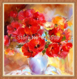 Wholesale-DIY Diamond Painting Poppy Flower Rhinestone Pasted Cross Stitch Diamond Rhinestone Pasted Painting Square Drill Full Home Decor