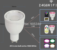 Wholesale WIFI GU10 million color change dimmable G led spot lamp V W RGB W LED Bulb control by Iphone Ipad Android mi light