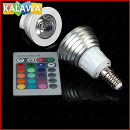 Wholesale-1 LOT 16pcs 3W led LED BULB With remote controller AC 110V 220V E27  E14   GU10   GU5.3 LED RGB spotlight RGB-001 FFF