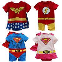 Wholesale Baby Hero Rompers Supergirl Superman Batman Flash Wonder Woman Costume Cotton Spring Summer Cute Children Romper Baby Cosplay