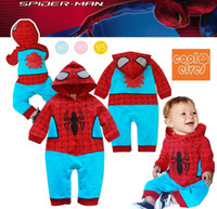Cheap Wholesale-2015 Cool Spiderman boys hooded long-sleeved clothing Siamese Romper climbing clothes baby blue leisure