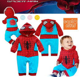 Wholesale Cool Spiderman boys hooded long sleeved clothing Siamese Romper climbing clothes baby blue leisure
