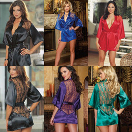 Wholesale-Women's Nightdress+G-string Thongs Satin Robe Lace ROBE Gown Bathrobes Nightie