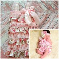 Wholesale Shabby Chic Floral Petti Lace Romper Satin Petti Romper Baby Girl Petti Romper Pink Floral Petti Romper