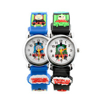Wholesale D Cartoon Cute Train Children Black Band Kids Cartoon Quartz Watch Christmas Boy Girl Birthday Xmas