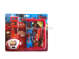 Wholesale-Newest Cartoon Cars projector watch set with wallet perfect gift for kids