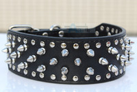 pit bull - Fashion Cheap Guarantee Spiked Studded Black PU Leather Dog Collars Pit Bull Mastiff P62 B