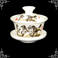 ceramic cup and saucer - hot sale ml chinese ceramic gaiwan cup porcelain kung fu tea set fine bone china drinkware cups and saucers promotion