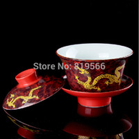 ceramic cup and saucer - promotion ml jingdezhen porcelain kung fu gaiwan chinese dragon ceramic tea cups and saucer drinkware pot set gift hot sale
