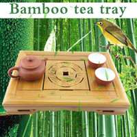 Cheap Wholesale-35.5cm *26cm *6cm Bamboo Tea Tray Chinese Kungfu Tea Board, Saucer Drawer Type Water teaboard storage drawer small tea table