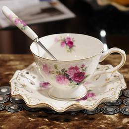 Wholesale New coffee set european hollow rural bone china tea cup and saucer wedding gift