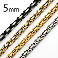 mens silver chains - Customized mm Black Gold Silver Tone Stainless Steel Necklace Byzantine Box Mens Boys Chain Necklace Jewelry KNM15