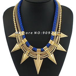 Wholesale-2015 New Jewelry Knitting Silk Yarn Pass Through Gold Metal+Snake Chain+Beads Chain 3 Layers Arrows Choker Women Necklaces NK293